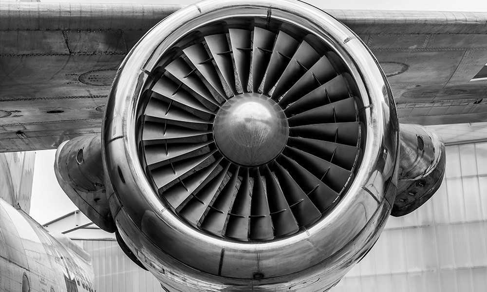 close-up of jet airplane engine