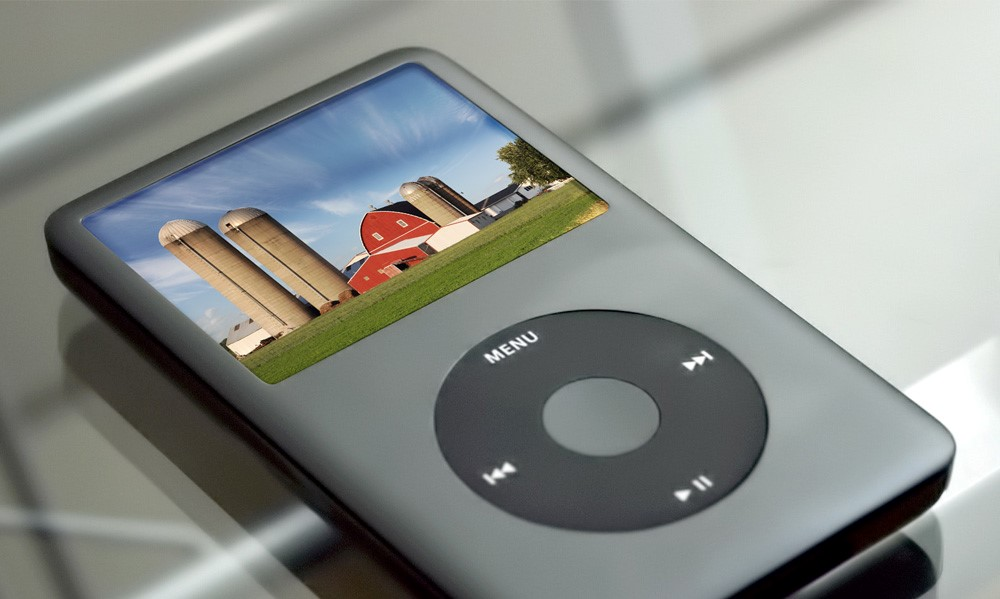 iPod with picture of grain silos
