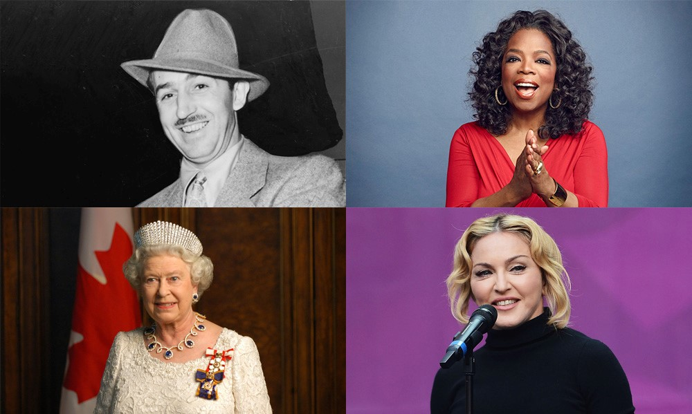 Walt Disney, Oprah Winfrey, Queen Elizabeth II, Madonna