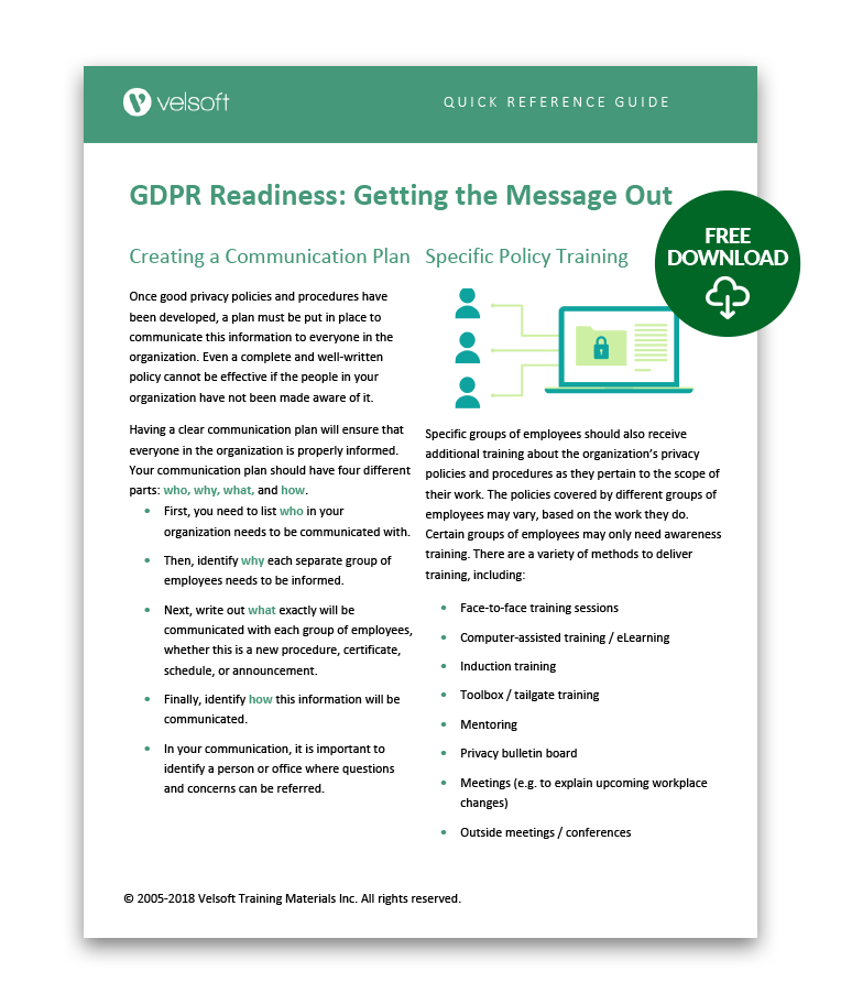 GDPR Readiness Getting the Message Out QRG