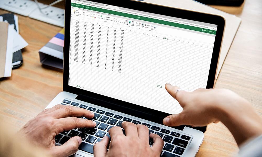 computer showing microsoft excel online worksheet
