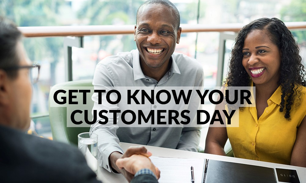 Get to Know Your Customers Day: clients shaking hands with account manager