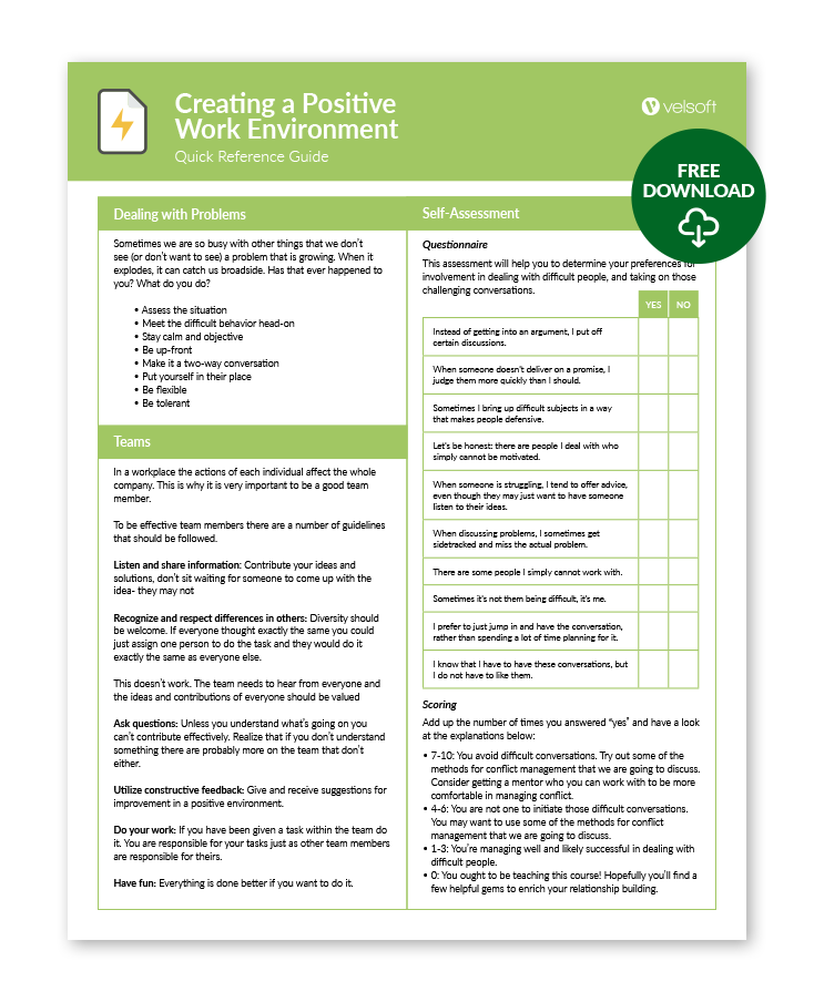 Positive Work Environment QRG
