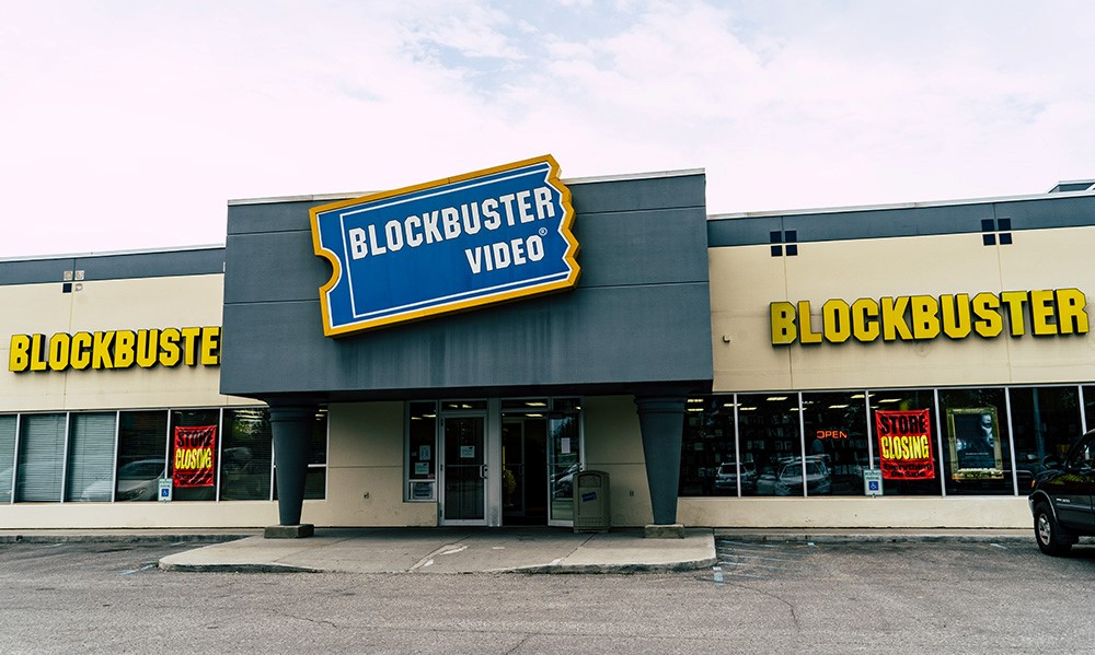 outside of Blockbuster Video store