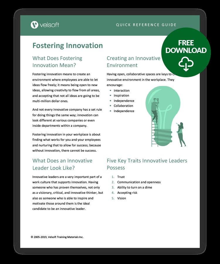 Fostering Innovation QRG