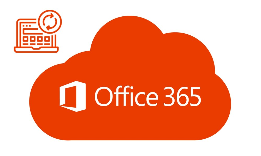 orange cloud with words Office 365
