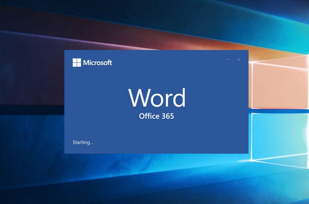 Word start-up screen